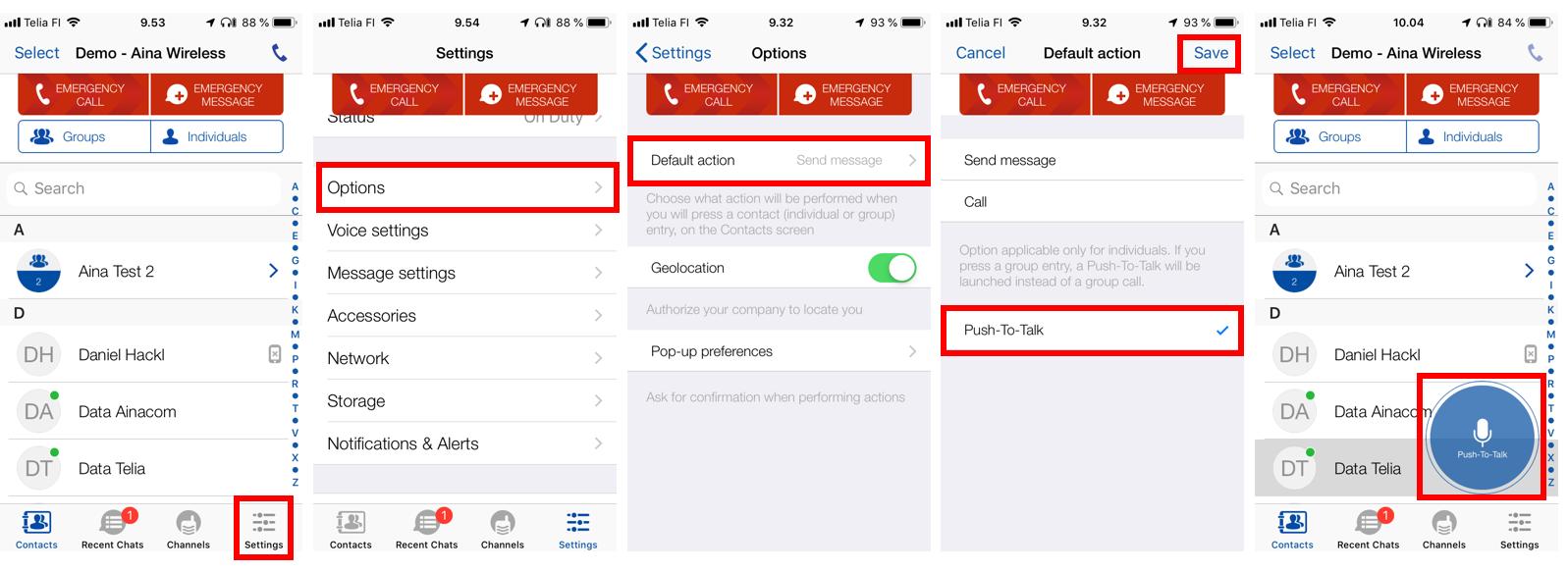 Connecting an AINA accessory to Team on the Run (iOS) (2)