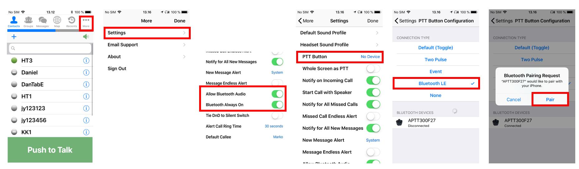 Pairing PTT Voice Responder to ESChat (iOS)