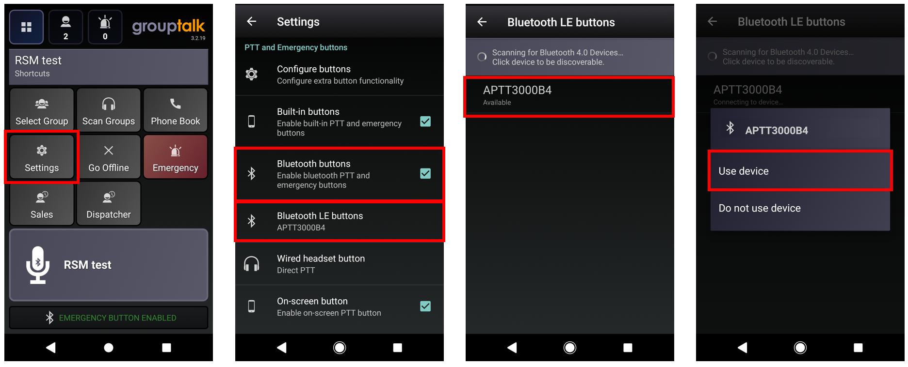 Pairing PTT Voice Responder to GroupTalk (Android)