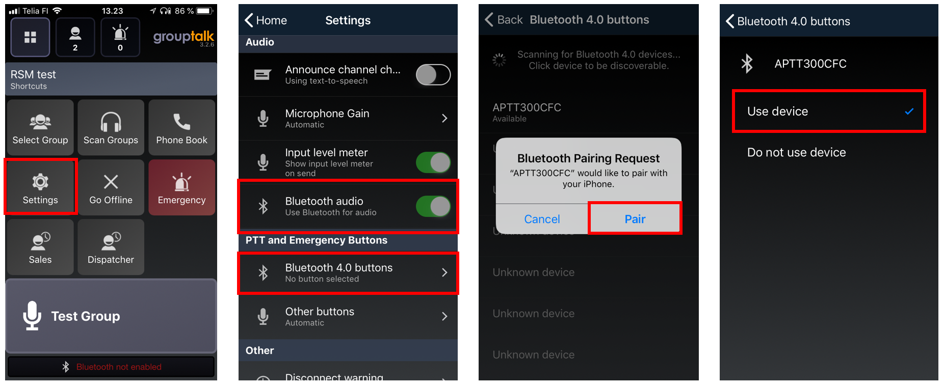 Pairing PTT Voice Responder to GroupTalk (iOS)