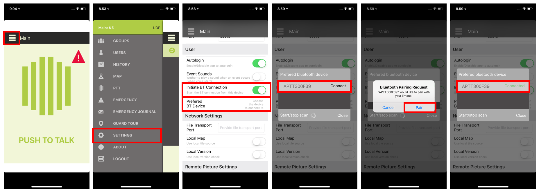 Screenshots - Pairing PTT Voice Responder to Tassta (iOS)